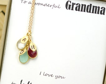 Mothers day birthstone necklace Personalized Necklace, Custom Initial Jewelry, Family necklace   ,mothers day Grandma gift mom necklace,