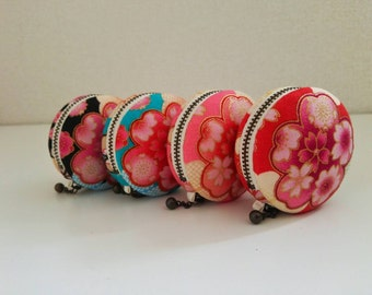 6cm, Macaron Jewelry Pouch/ Macaroon/ Coin Purse - Sakura Festival, Black/Blue/Pink/Red -  Handmade in Japan by Chikaberry