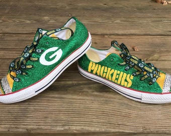 Green Bay Packers/Custom Converse/Football Shoes/Glitter Shoes/Chucks