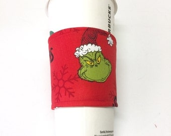 CLEARANCE!!  Grinch  coffee cozie, coffee cozie,