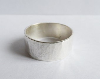 ring hammered sterling silver