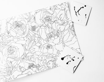 Minimalist, floral black and white wrapping paper, gift wrapping