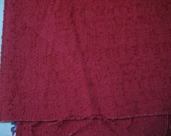 "2 1/4 Yds @ 50"" wide Deep red cotton/blend damask nubby fabric for upholstery or apparel."