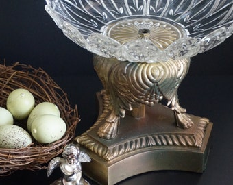 Vintage, Glass and Brass Candy Dish