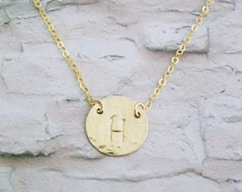 Initial necklace, Gold disk necklace, Letter necklace, Initial necklace gold, Personalized initial necklace, Gold monogram necklace,