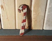 SIX Handmade Wooden Candy Canes - Old Fashioned Rustic Country Charm