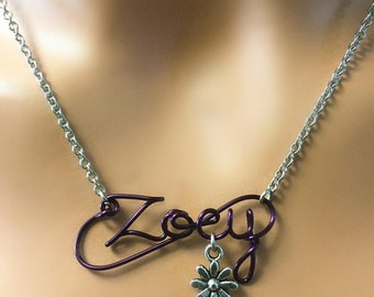 Purple Wire Script Name Necklace with Charm or Birthstone,Name Necklace,script necklace,wire name necklace,wire name necklace,teen girl