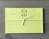 Green Recipe Cards 4x6 - Set of 10
