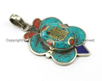 Tibetan Kalachakra Pendant with Brass, Turquoise, Coral, Lapis Inlays- Floral Kalachakra Charm Pendant- Ethnic Nepal Yoga Pendant- WM5933