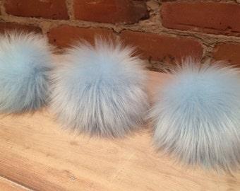 Faux Fur Pompom, 5 Inch, Baby Blue Pom, Pom Pom, Removable, Fur Ball, Powder Blue Pom, Faux Fox, Faux Pom Pom, Knit Hat Pom, Detachable