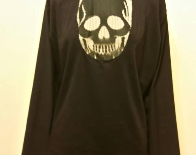 Wicked Lace Skull Long Sleeve Goth Peekaboo Shirt