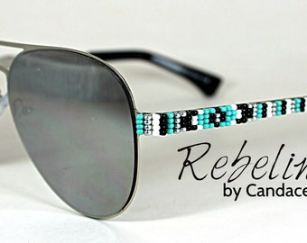 Beaded Sunglasses Turquoise Aviators