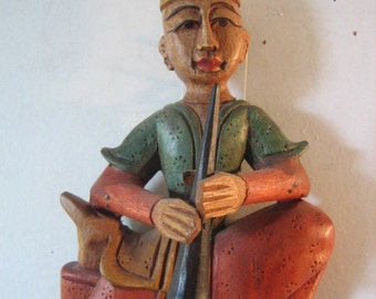 Hand Carved Wooden Thai  Musician