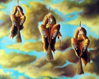 Three Witches Fly//16x16//Free Shipping the U.S.A.//Witch Painting//oil painting