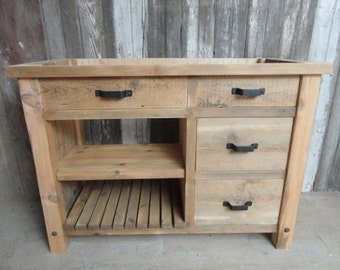 Rustic Vanity With X-Brace on Side, Made to Order from Reclaimed Pine Barn Wood, Free Shipping