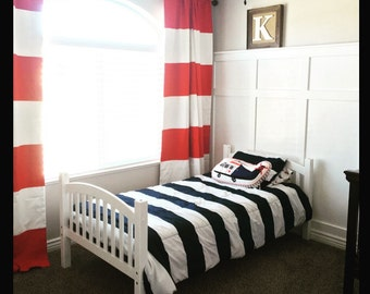 custom red and white striped curtains stripes color blocked nursery curtains striped