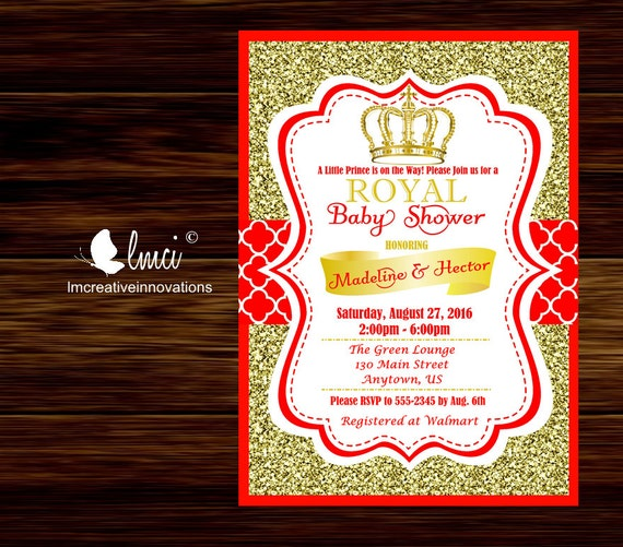 red and gold royal baby shower invitation little prince baby shower