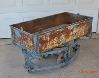 Vintage Factory Cart Foundry Cart Antique Shop Cart Wagon Vintage Industrial Machine Age Steampunk Project Foundry Cart