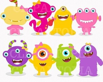 50% OFF SALE Cute Little Monster Girls Digital Clipart for Personal and Commercial Use/ INSTANT Download