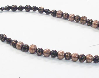 """Handmade Beaded Necklace in Black and Bronze 19"""" Long"""