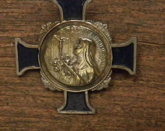 French antique silvered cross medal brooch Saint Therese
