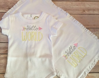 Hello World Onesie and Burp Cloth Set