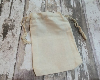 """Set of 25 Cotton Muslin Double Drawstring Bags, 3 1/4"""" X 5"""", Unprinted Natural Cotton Drawstring Bags, Wedding or Party Favor, Gift Bags"""