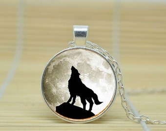 wolf necklace moon picture pendant