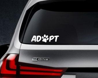 Adopt decal, Adopt sticker, Pet adoption decal, Pet adoption sticker, Adopt a pet decal, Adopt a pet sticker, pet adoption car decal, adopt