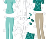 Build Your Own Set Instant Download Paper Doll Wardrobe - Medical Professional