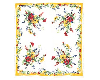 Vintage Yellow Floral Tablecloth
