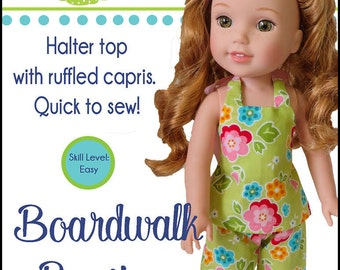 Pixie Faire Oh Sew Kat Boardwalk Boutique Halter Top & Capris Doll Clothes Pattern for 14.5 inch Dolls Such As WellieWishers Dolls - PDF