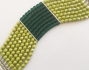 8-Strand Chartreuse and Turquoise Bracelet