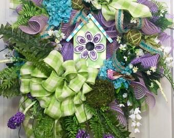 Birdhouse Mesh Spring and Summer Wreath