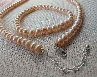 Genuine Peach Cultured Freshwater Button Pearl 925 Sterling Silver Bracelet and Necklace Set B&N13