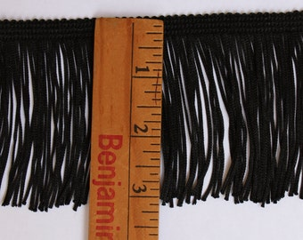 3 inch Black, Chainette Fringe - By the Yard