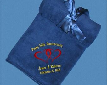 Anniversary Gift, Fleece 50th Anniversary Blanket -  25th  Anniversary Gift - Silver Anniversary Throw - Golden Anniversary Gift - Wedding