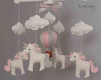 Unicorn Mobile - Hot Air Balloon Mobile - Custom Mobile (ships in 4-6 weeks)
