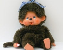 Monchhichi girl doll with brown fur Sekiguchi 1974s with baby pacifier and freckles Vintage Unique