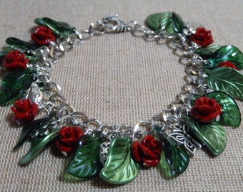 Rose bracelet garden Handmade, red or blue, charms, ladybird, butterfly, flower, strawberry flower