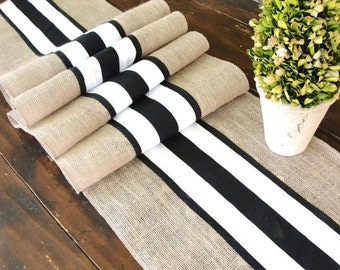 French Farm Wedding Table Runner Wedding Table Decor Black and White French stripes Table Runner French Country