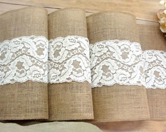 Ivory lace Wedding table runner lace & burlap table runner wedding decor vintage wedding table setting wedding Décor handmade in the USA