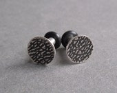 One PAIR - Solid Plugs or Standard Earrings with a 7.9mm Textured Disc Design
