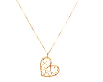 14k Rose gold heart pendant necklace made - Gift for her