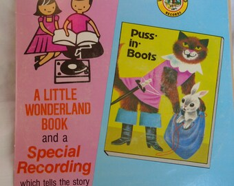Vintage Children's Read and Hear Book and 45 RPM Record Puss-inBoots