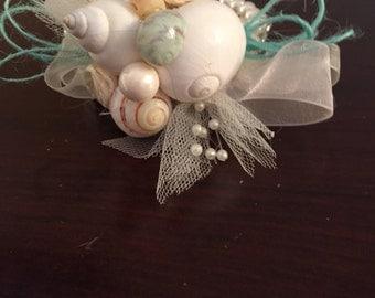 Xo bouquet seashell wrist corsage