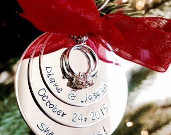 SALE Personalized Christmas Ornament She said YES Engagement Ornament First Christmas as Mr. and Mrs. Husband and Wife Holidays wedding gift