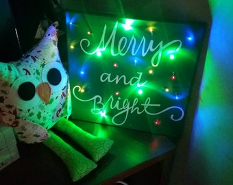 Merry and bright light up sign