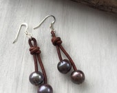 Leather pearl earrings, peacock, leather and pearls,freshwater pearls, pearls, pearl on leather, pearl earring