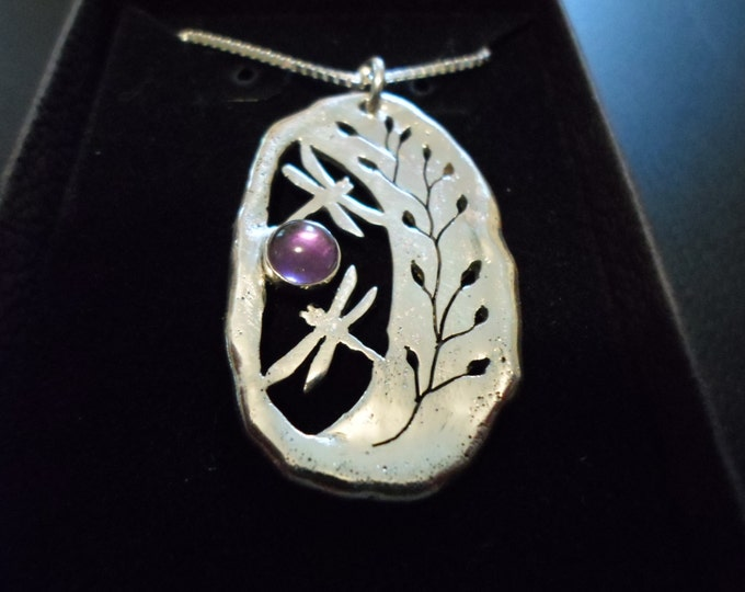 """Dragonfly necklace  w/6mm amethyst natural 39x24mm large w/20"""" sterling silver chain"""